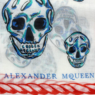 Alexander McQueen Scarf White Skulls - Large Square Cotton Scarf SALE