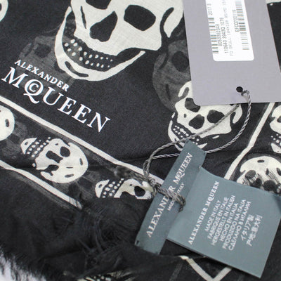Alexander McQueen Scarf Black White Skulls - Extra Large Modal Silk Wrap