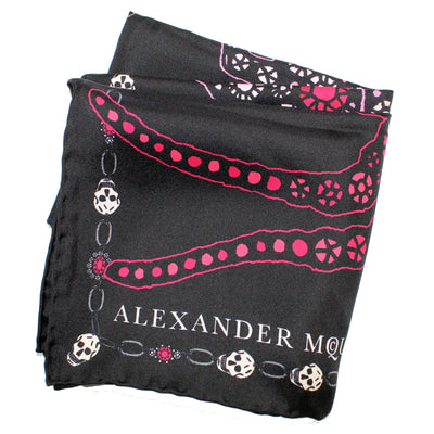 Alexander McQueen Small Scarf Jewelled Bug Black Pink - Chiffon Silk Scarf