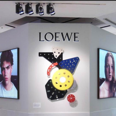 Loewe Scarf White Black Yellow Navy Red 'Meccano' - Twill Silk Square Scarf SALE