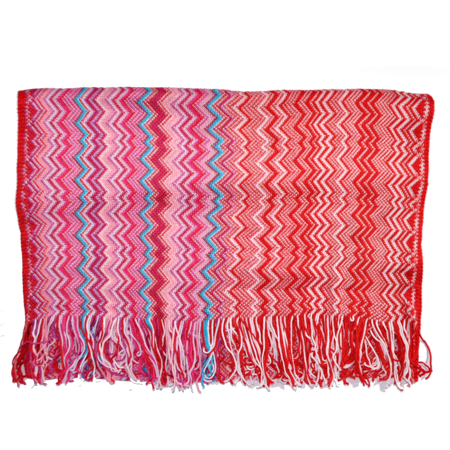 Missoni Scarf Pink Red Aqua Zigzag Stripes Cotton Shawl