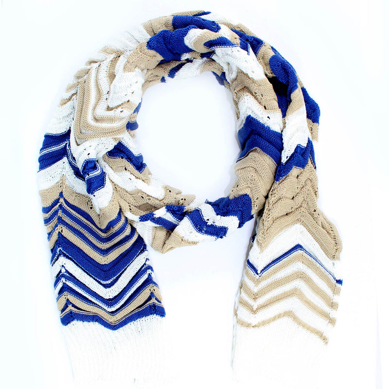 Missoni Scarf Blue White Cream Chevron Design