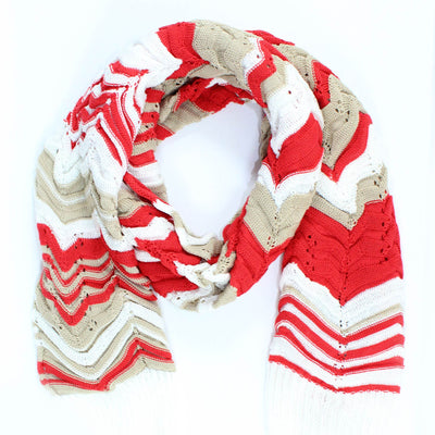 Missoni Scarf Red White Chevron Design