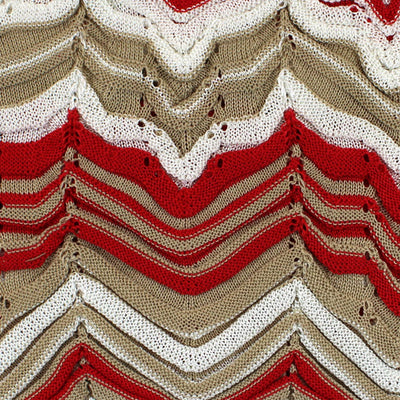 Missoni Scarf Red White Cream Chevron Design New