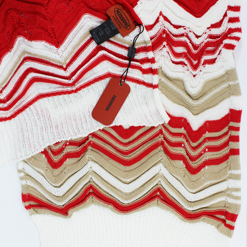 Missoni Scarf Red White Cream Chevron Design
