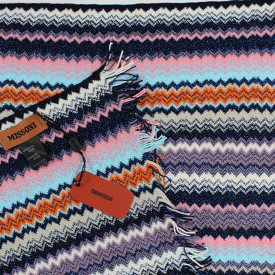 Missoni Scarf Sky Blue Pink Chevron Design Women Designer Shawl