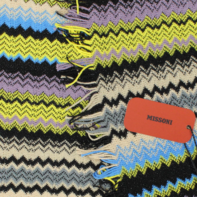 Missoni Scarf Dark Blue Lime Zigzag Chevron Women Designer Shawl FINAL SALE