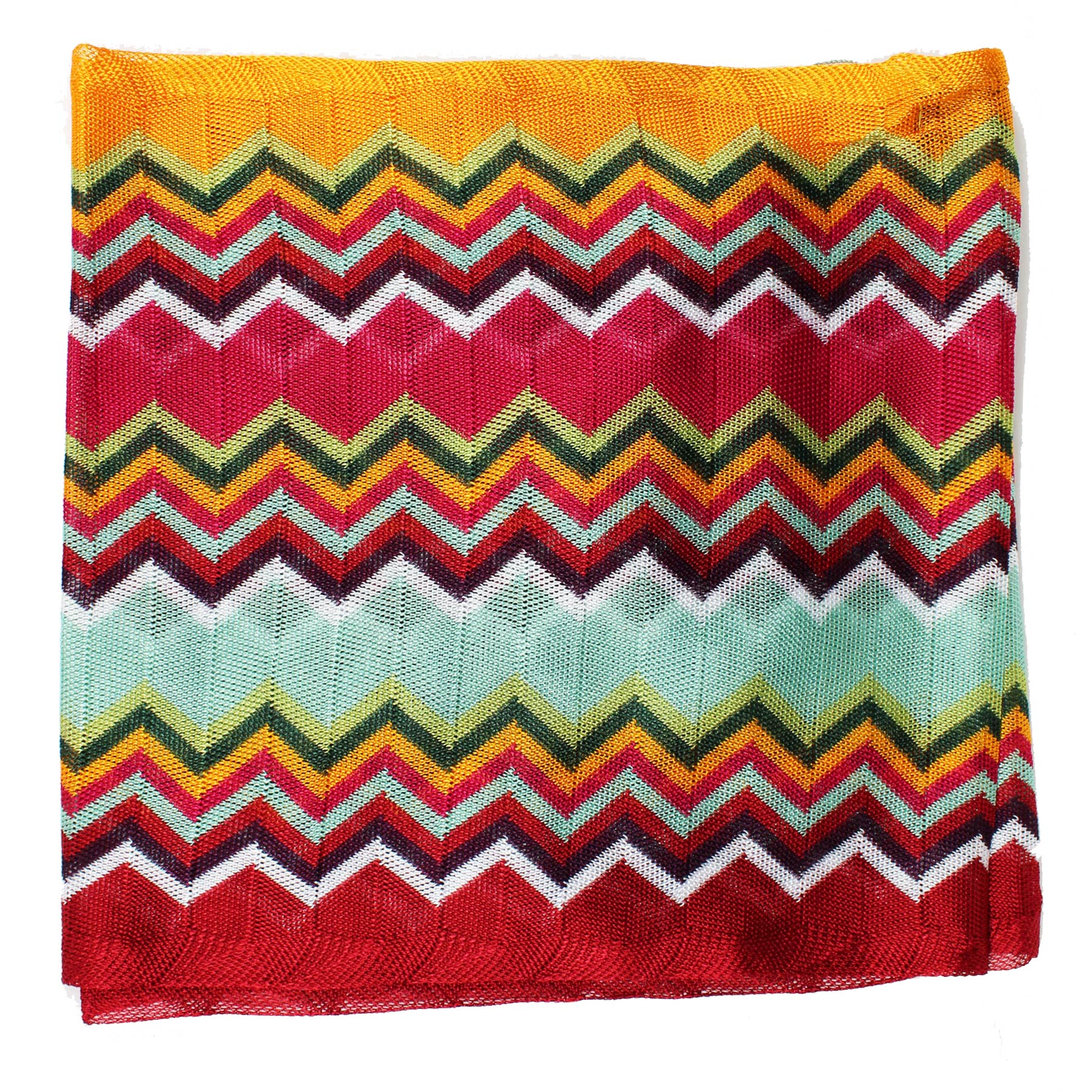 Missoni Scarf Burgundy Orange Sky Blue Zigzag