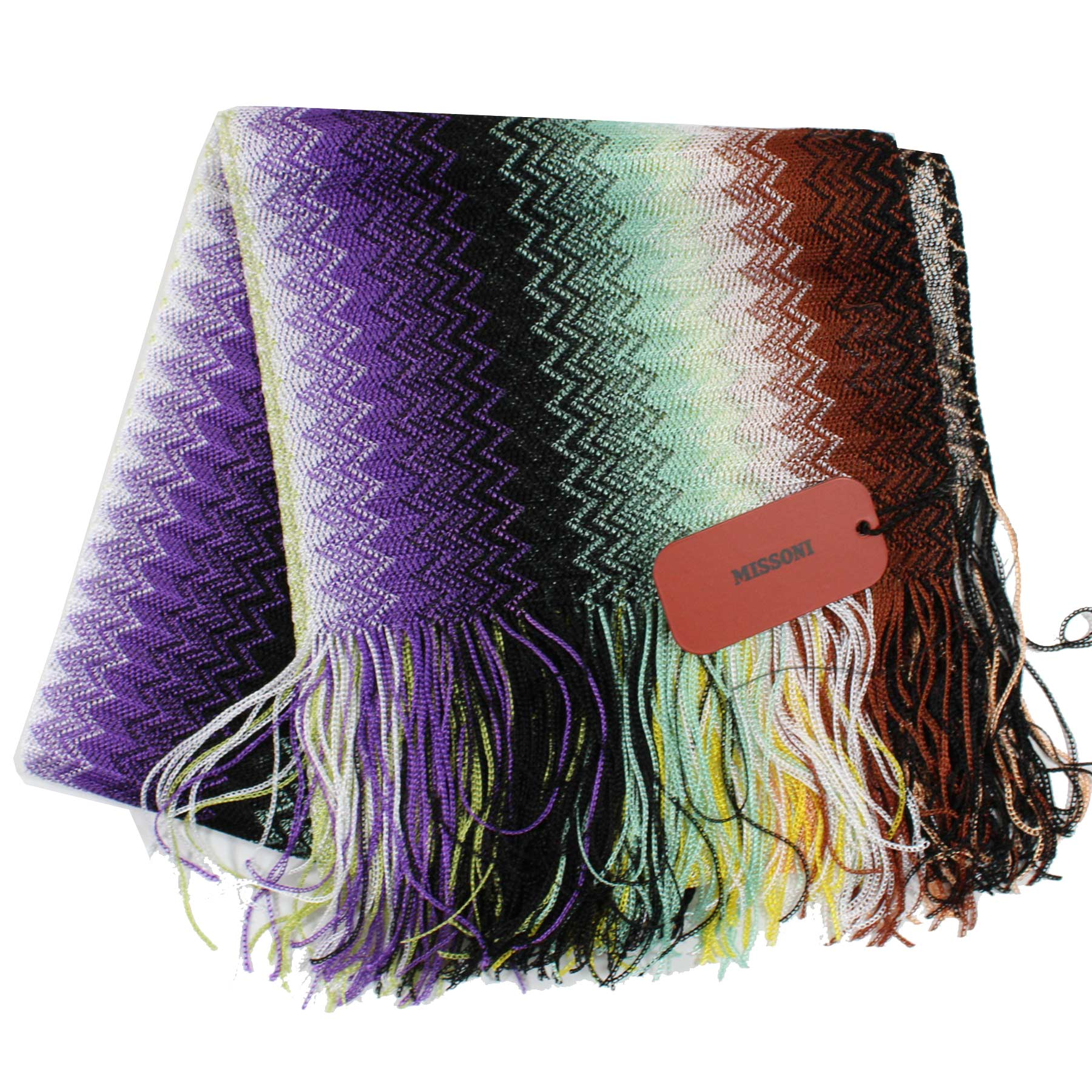 Missoni Scarf Purple Brown Green Zigzag Chevron Women