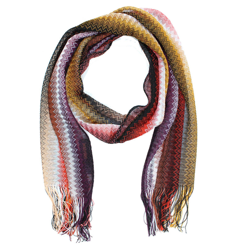 Missoni Scarf Brown Red Purple Zigzag Chevron Women Designer Shawl