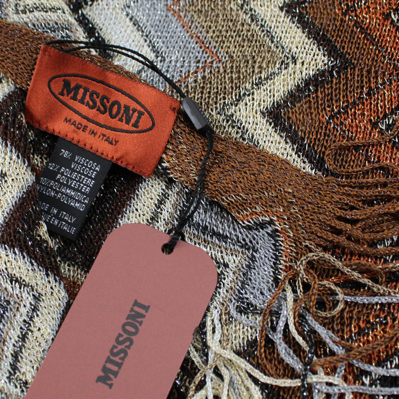 Missoni Scarf Brown Gray Zigzag Chevron Women Designer Shawl