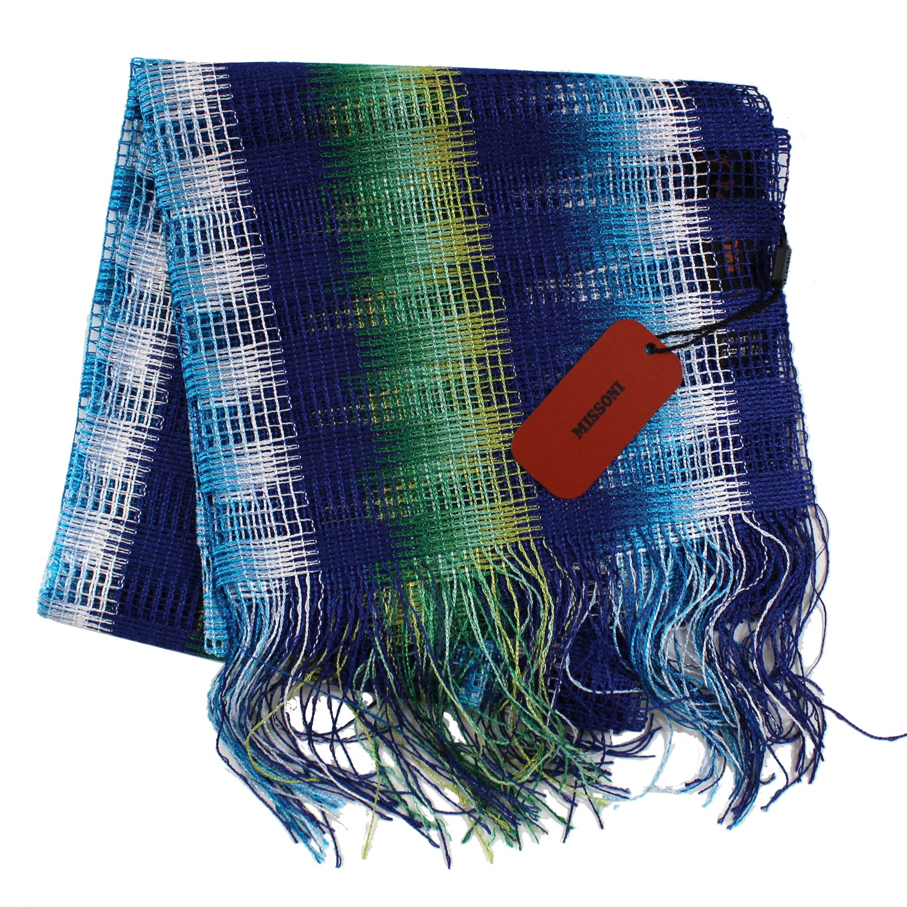 Missoni Scarf Navy Aqua Green White Stripes Women Designer Shawl