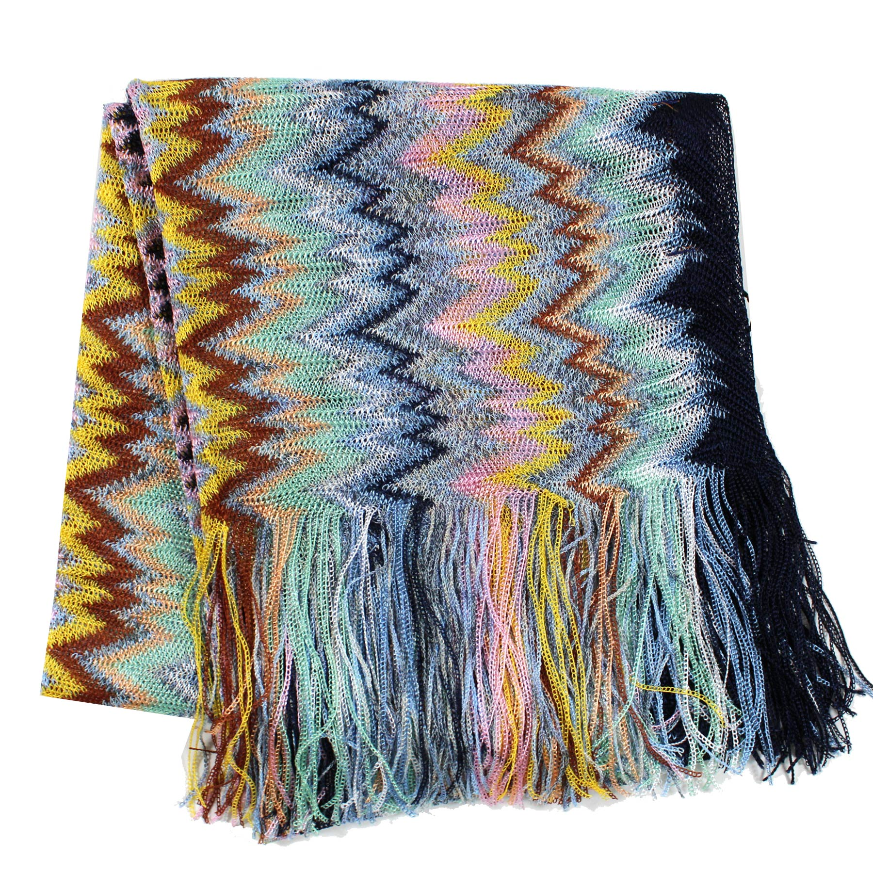 Missoni Scarf Mint Blue Yellow Pink Zigzag