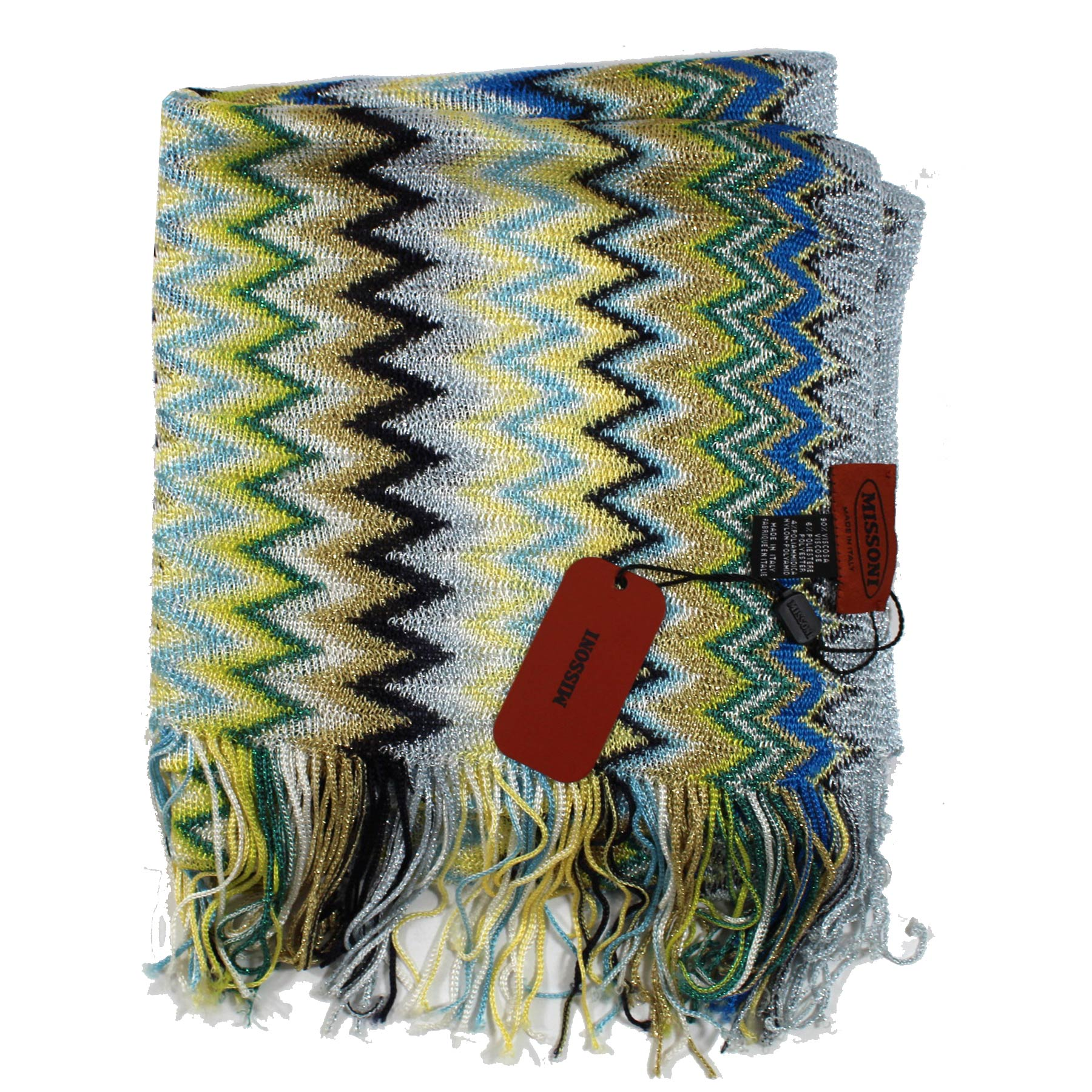 Missoni Scarf Green Blue Zigzag Design