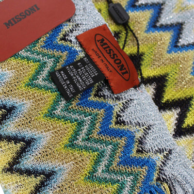 Missoni Scarf Green Blue Zigzag Design Women Designer Shawl