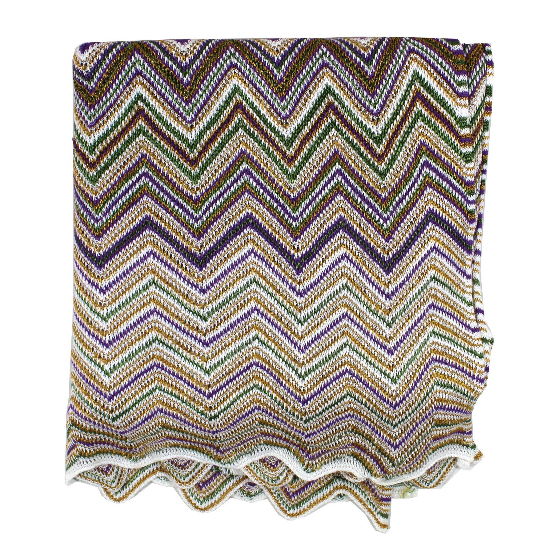 Missoni Scarf Green Gold Stripes Designer Shawl
