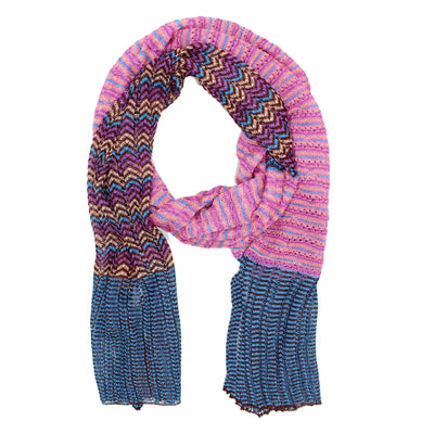 Missoni Scarf Midnight Blue Pink Gold Design - Women Designer Shawl
