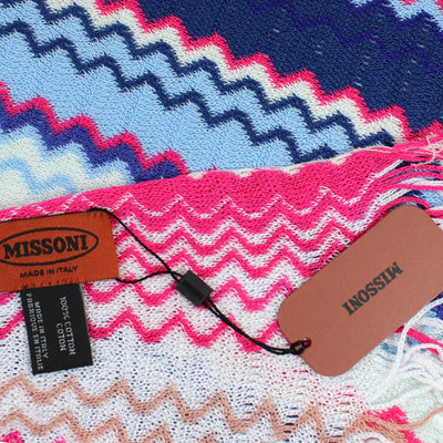 Missoni Scarf Royal Blue Pink Design Women Designer Shawl
