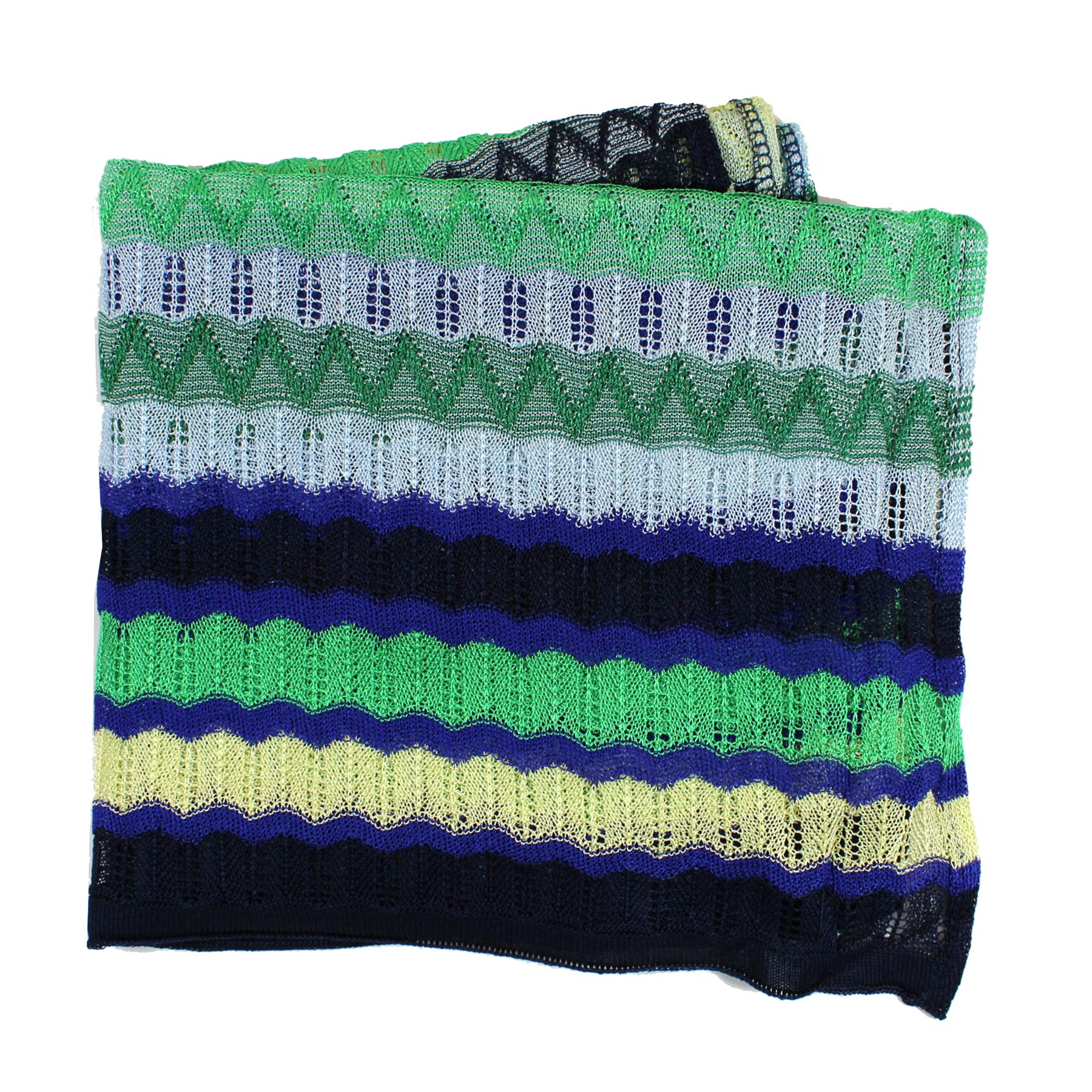 Missoni Scarf Green Purple Eyelet Knit Design Women Designer Shawl