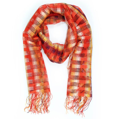 Missoni Scarf Red Orange Beige Eyelet Knit Design Women Designer Shawl