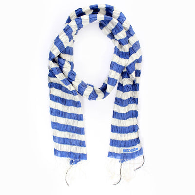 Moschino Scarf White Blue Striped Silk Shawl