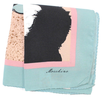 Moschino Scarf Pink Sky Blue Olive Oyl - Small Square Scarf