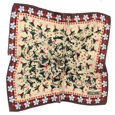Moschino Scarf Brown Olive Oyl Everywhere - Small Square Scarf