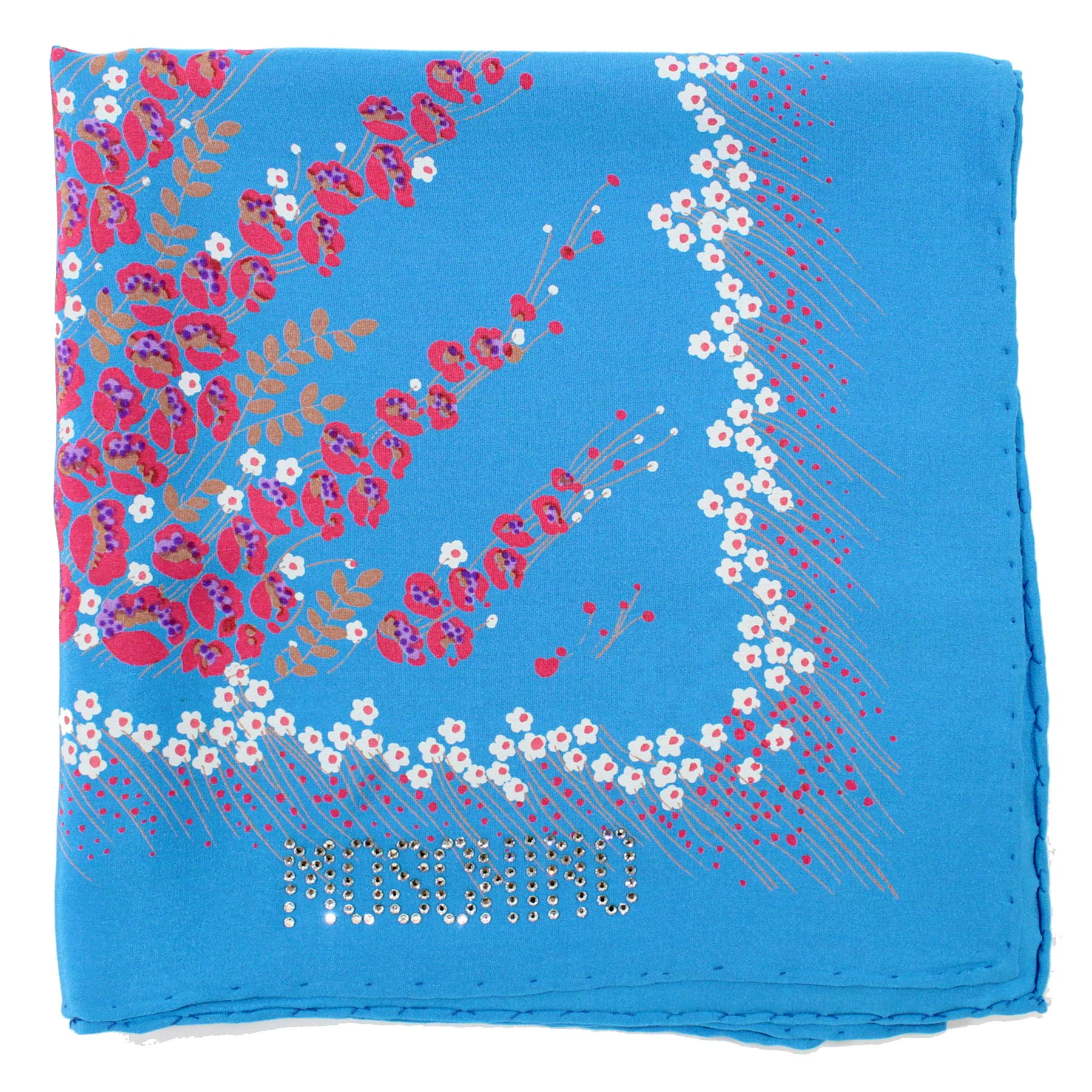 Moschino Scarf Blue Floral Large Square Silk Foulard