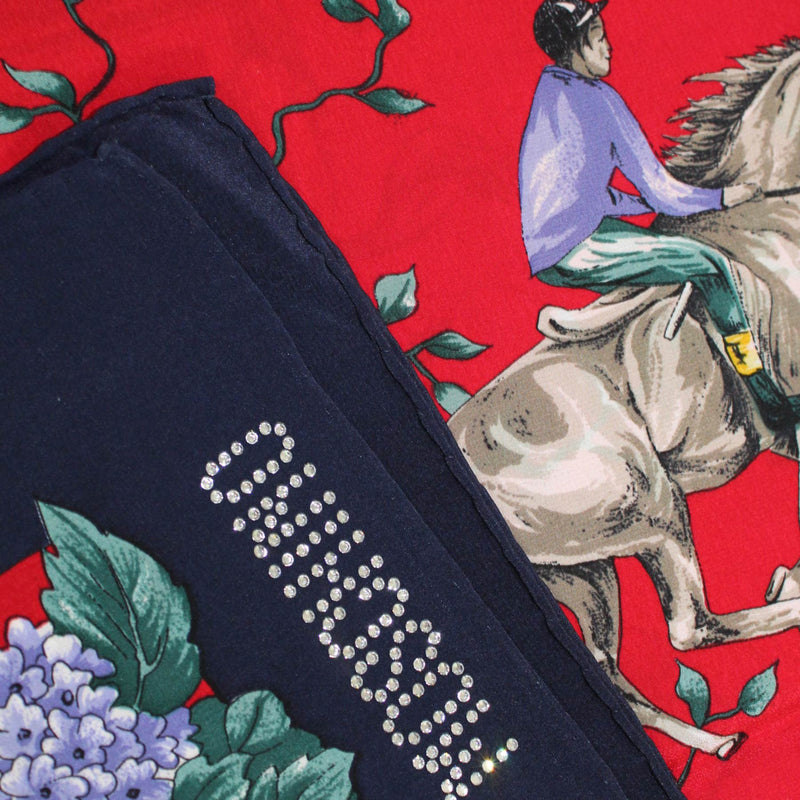 Moschino Scarf Navy Lavender Red Floral & Equestrian - Large Square Silk Foulard