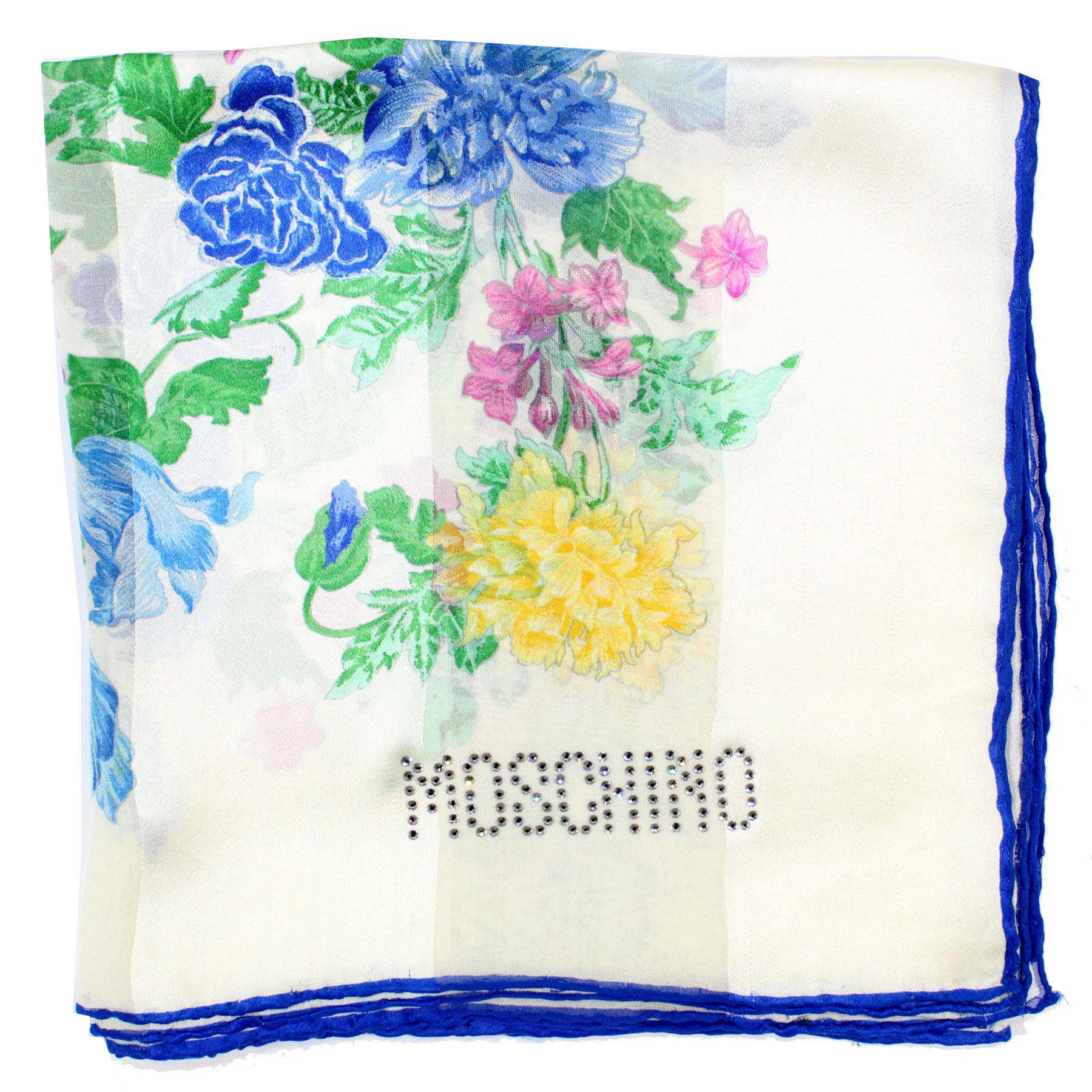 Moschino Scarf White Blue Yellow Pink Green Floral - Large Square Silk Foulard SALE