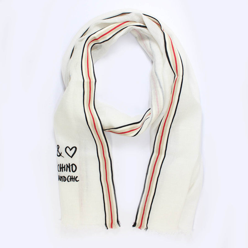 Moschino Scarf White Linen Cheap And Chic Shawl
