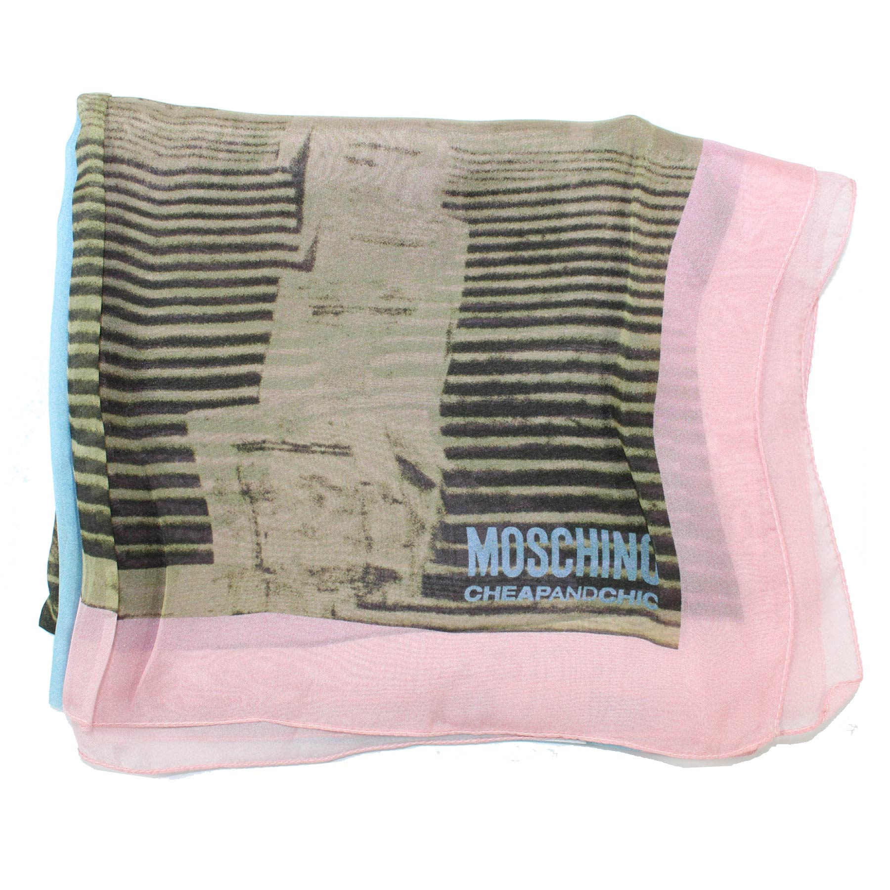 Moschino Scarf Pink Taupe Blue - Chiffon Silk Cheap And Chic Shawl SALE