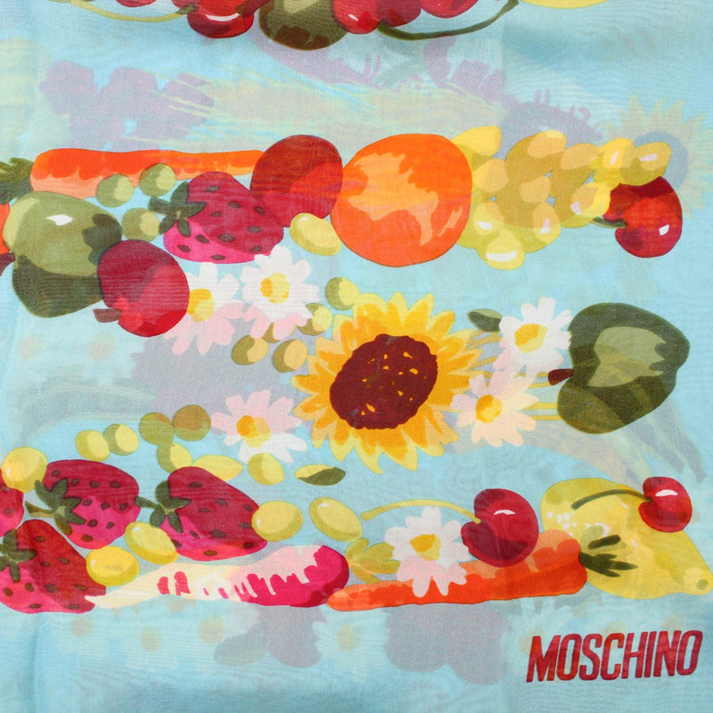 Moschino Scarf Blue Red Fruit