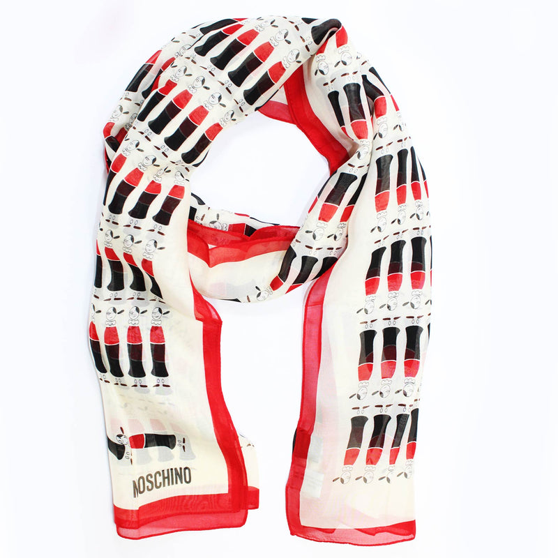 Moschino Scarf White Red Olive Oyl Chiffon SALE