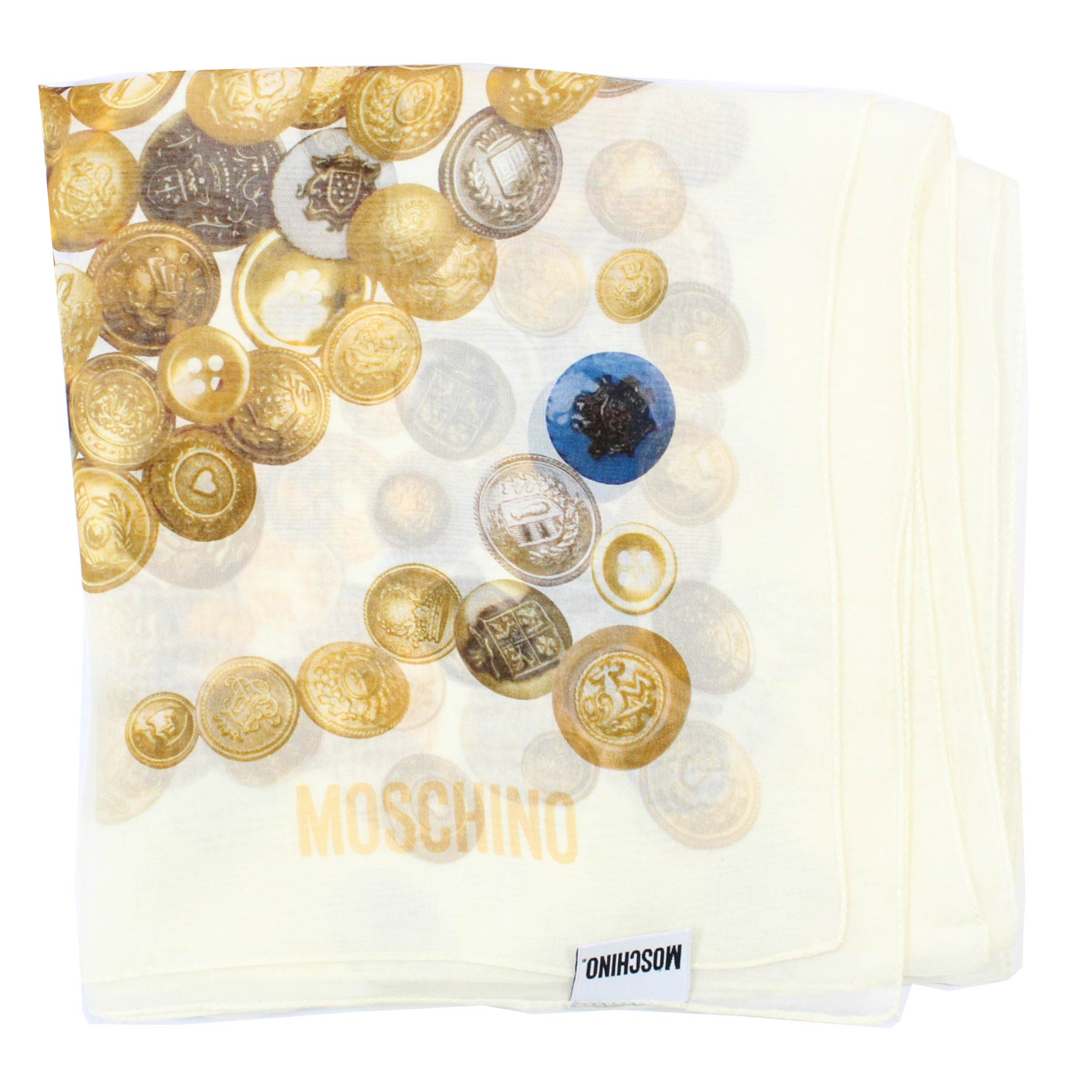 new Moschino Scarf White Coin Buttons