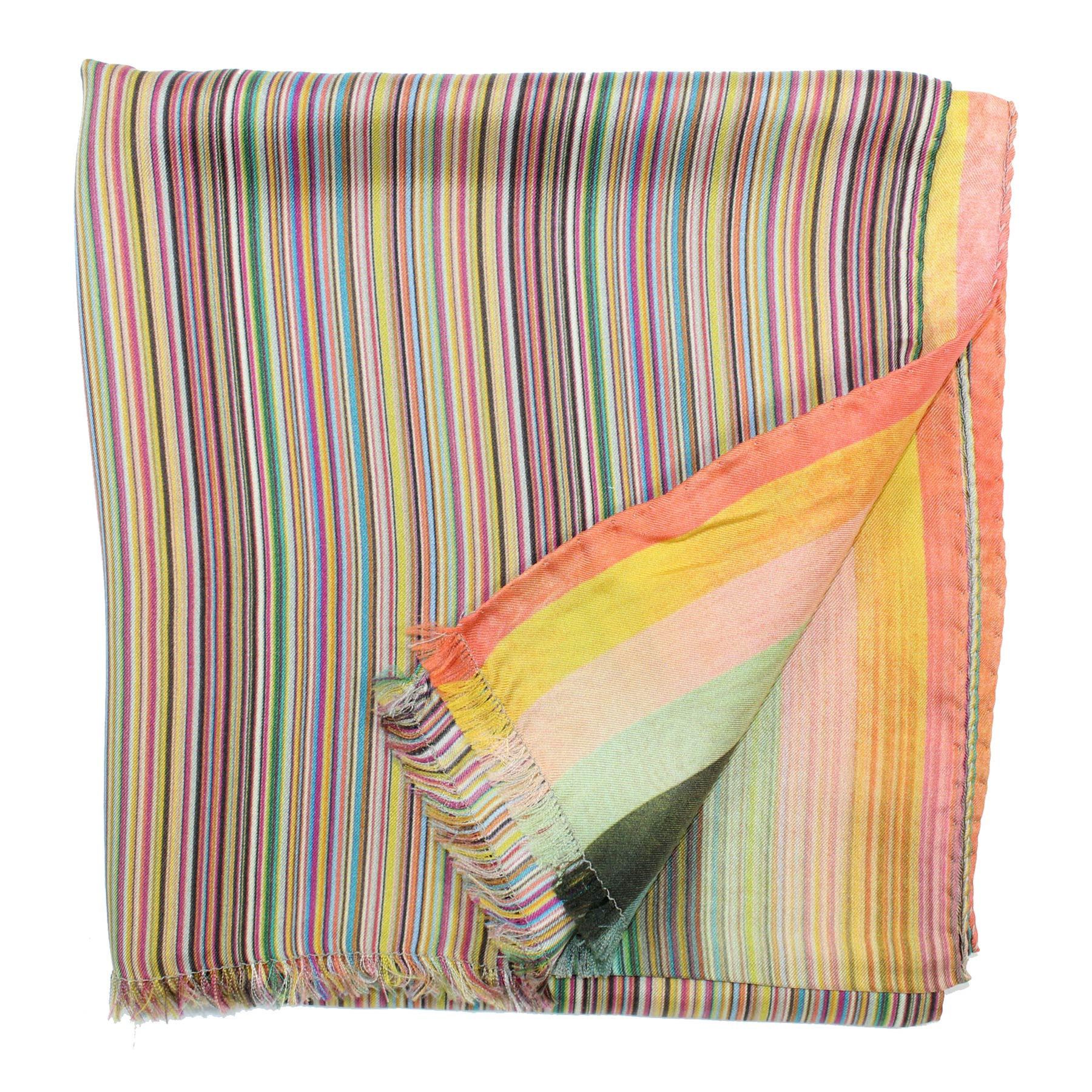 Paul Smith Silk Scarf Colorful Stripes - Women Collection