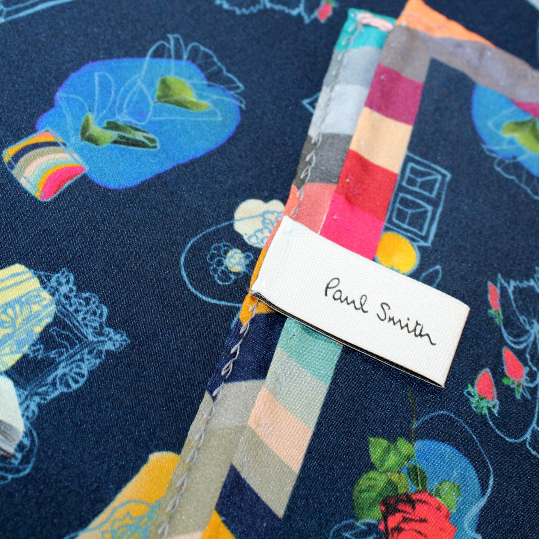 Paul Smith Silk Scarf Navy Novelty - Women Collection SALE