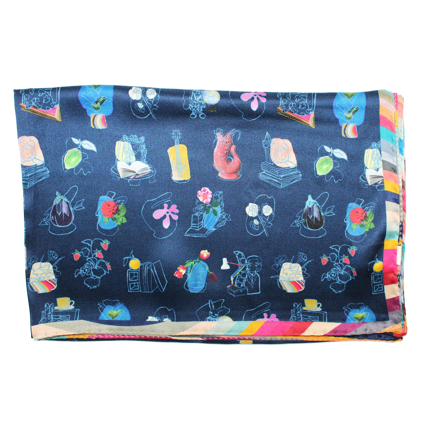 Paul Smith Silk Scarf Navy Novelty - Women Collection
