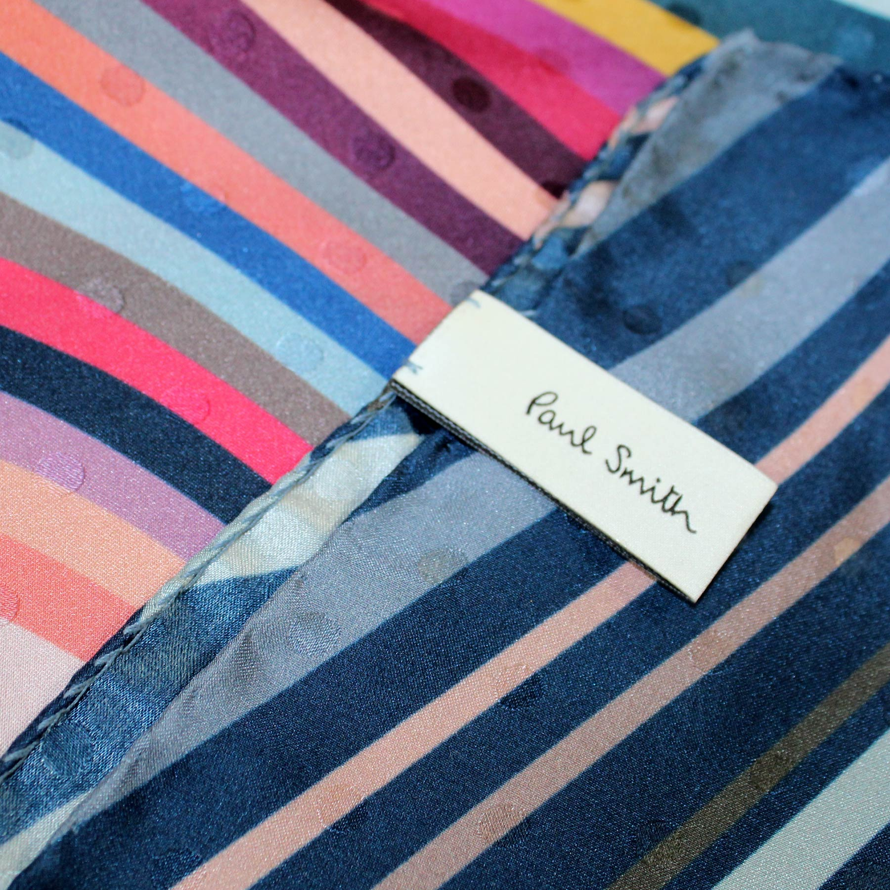 Paul Smith Scarf Colorful Swirly Stripes - Women Collection Silk Shawl
