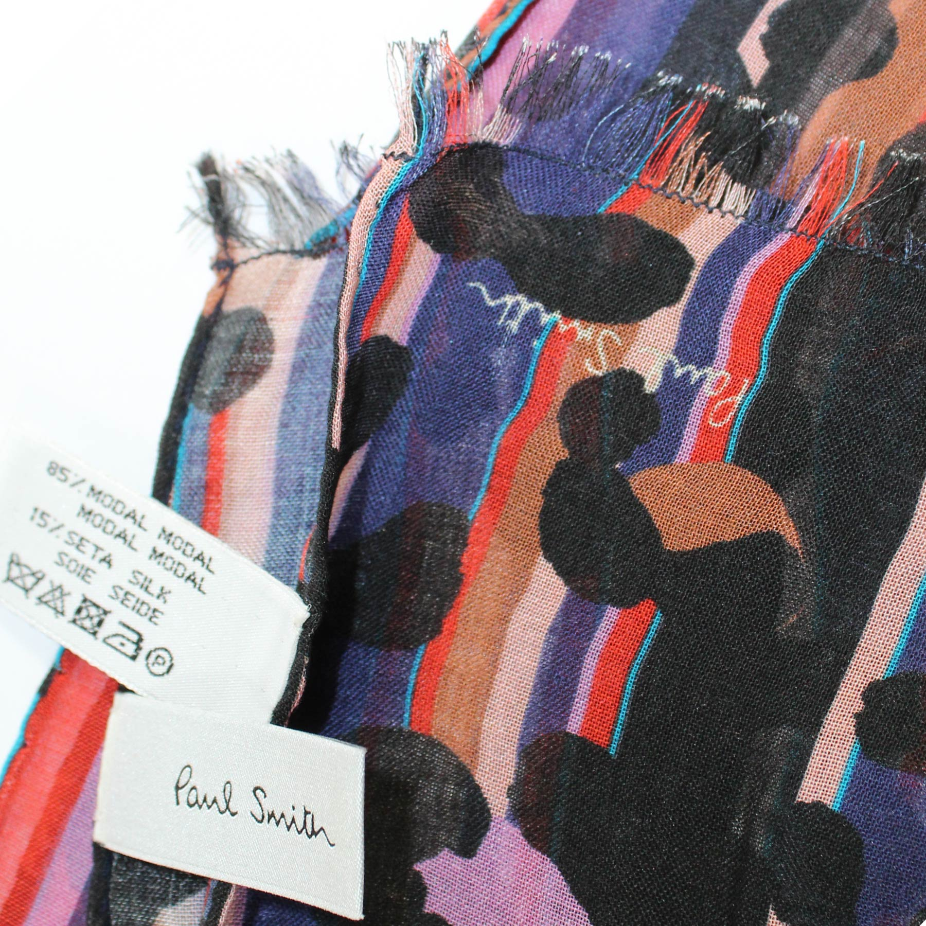 Paul Smith Scarf Purple Red Panther Print & Stripes - Women Collection Shawl