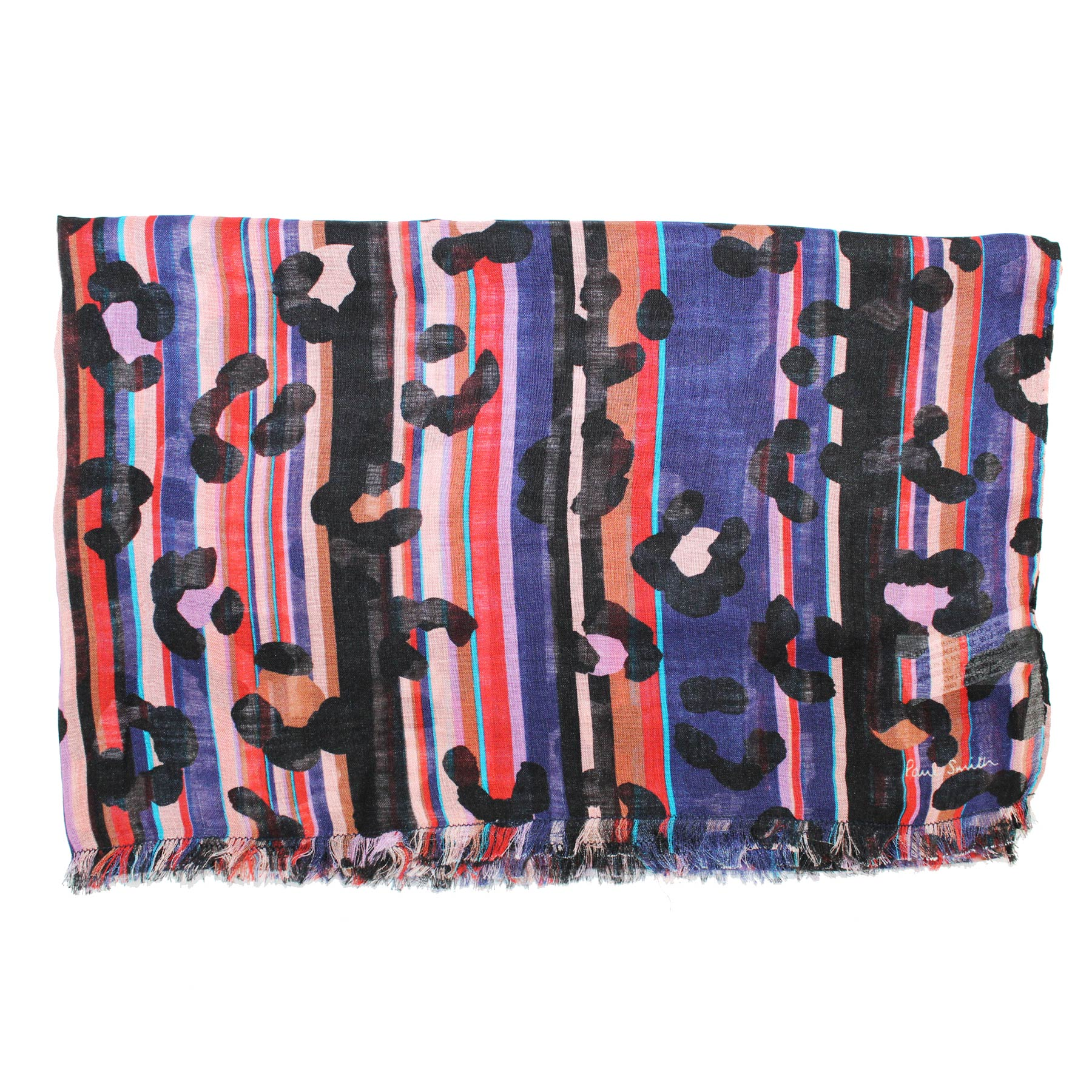 Paul Smith Scarf Purple Red Panther Print & Stripes - Modal Silk Shawl SALE