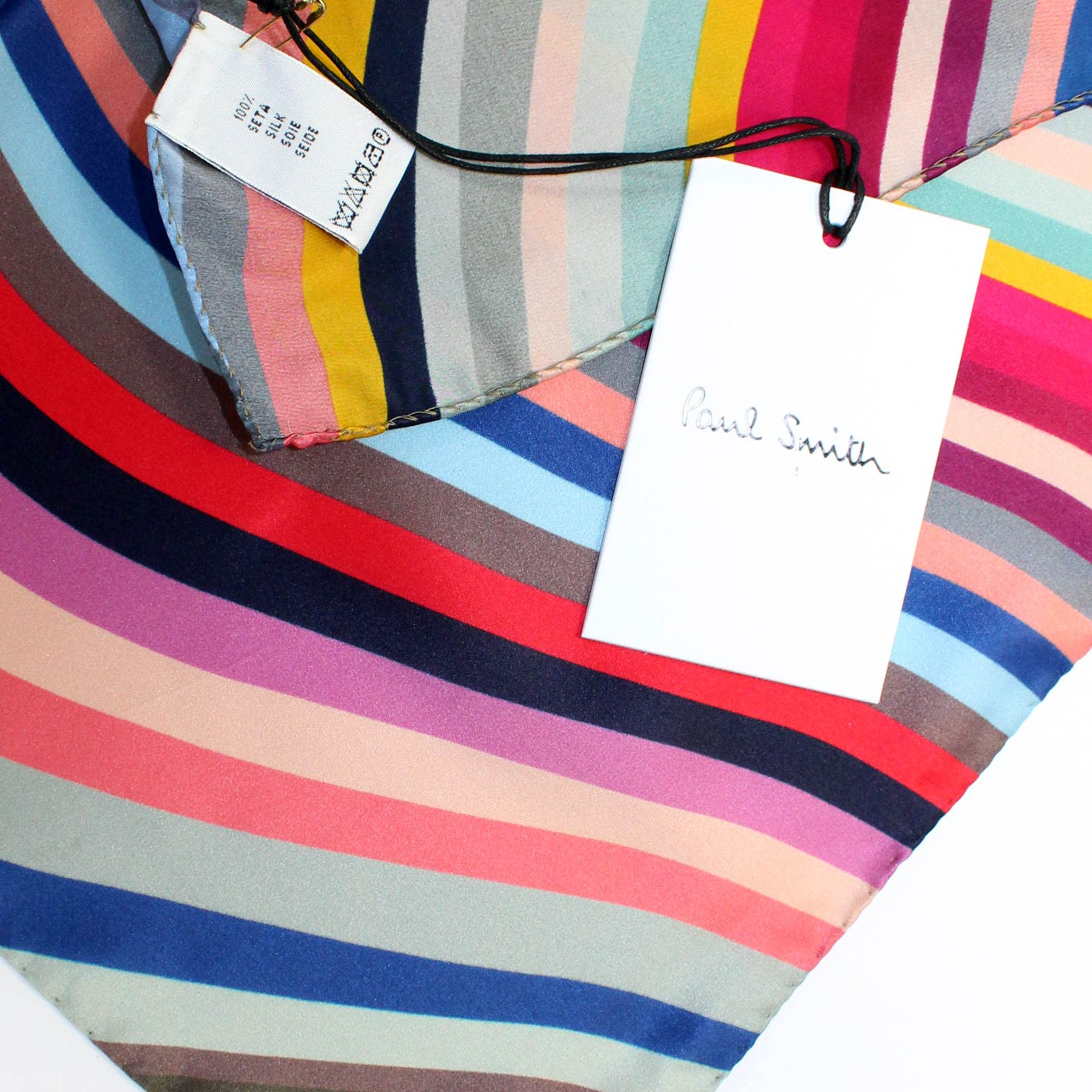 Paul Smith Scarf Signature Swirly Stripes - Women Collection Silk Shawl New