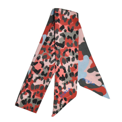 Furla Scarf Pink Taupe Black Camouflage Design Bandeau/ Twilly FINAL SALE