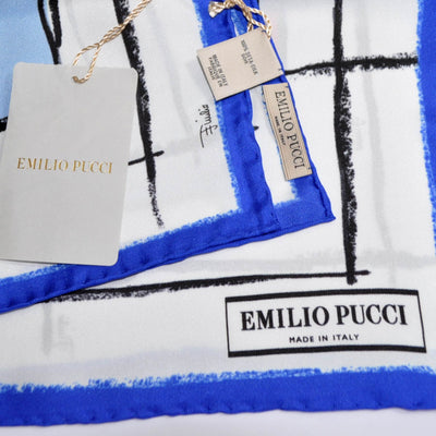 Pucci Scarf Royal Blue Face & Stripes Design - Twill Silk Square Scarf BLACK FRIDAY SALE
