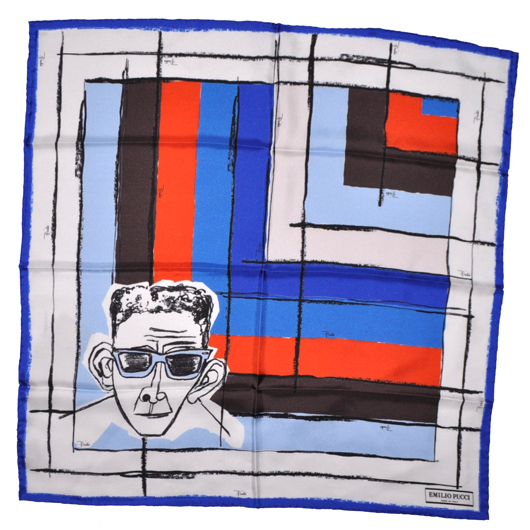 Emilio Pucci Scarf Royal Blue Face & Stripes Design