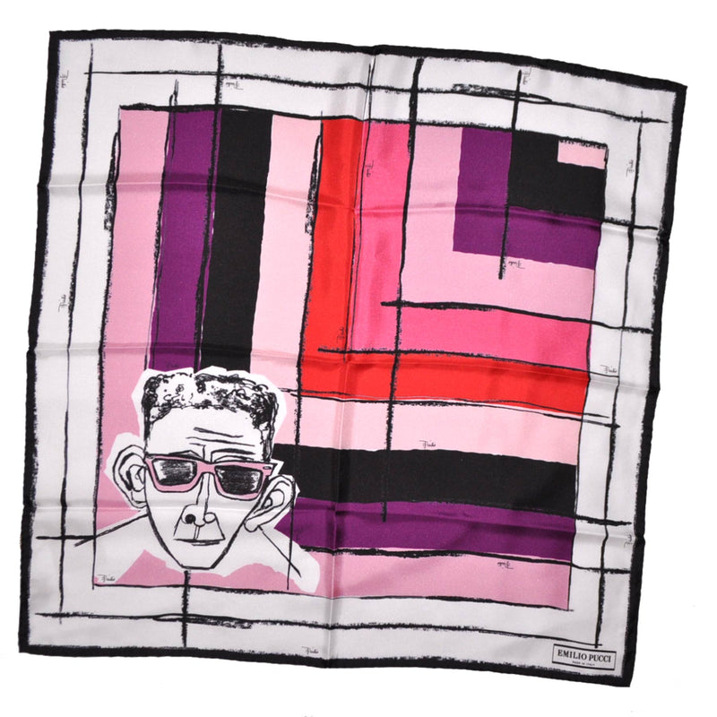 Pucci Scarf Pink Face & Squares Design - Twill Silk Square Scarf SALE