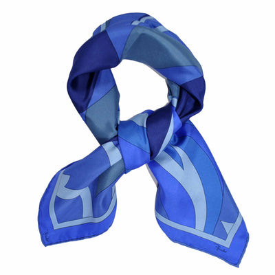 Silk Square Scarf Dark Blue Signature Print