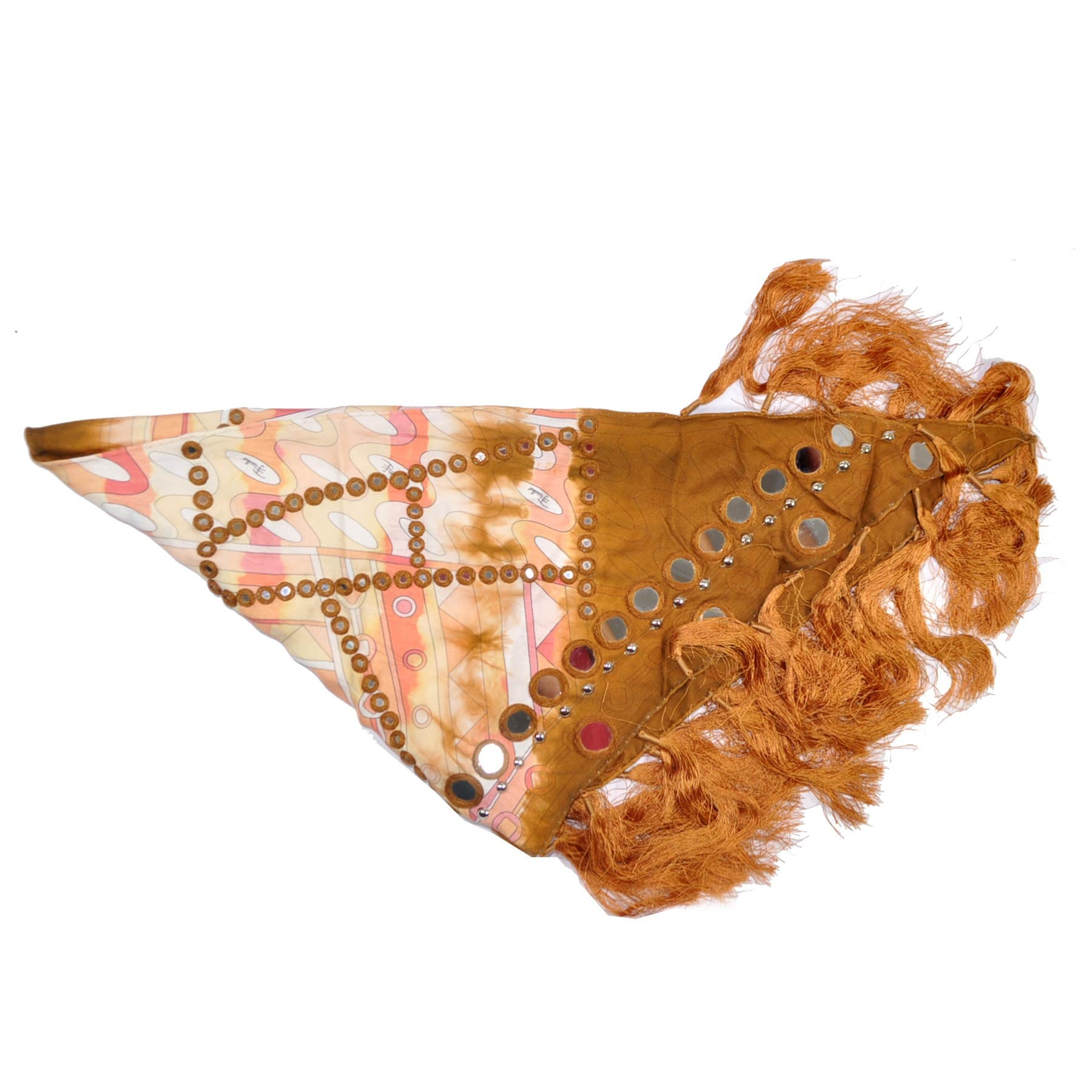Emilio Pucci Square Silk Triangle Scarf Peach Copper Antik Fringe