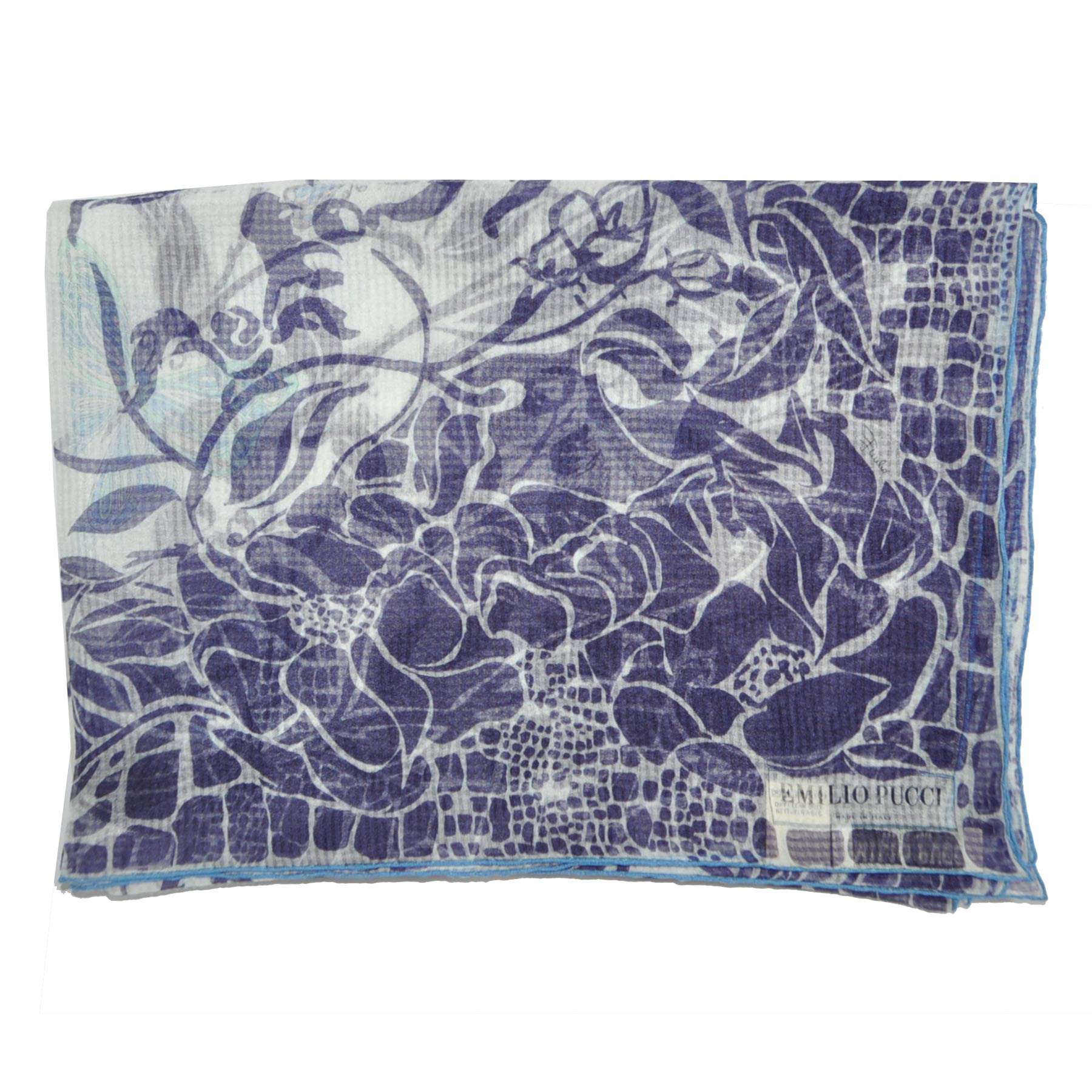 Emilio Pucci Scarf Purple Blue Floral & Butterfly