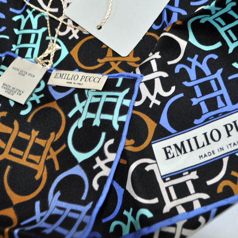 Emilio Pucci Small Scarf Black Brown Blue Logo Print Headband